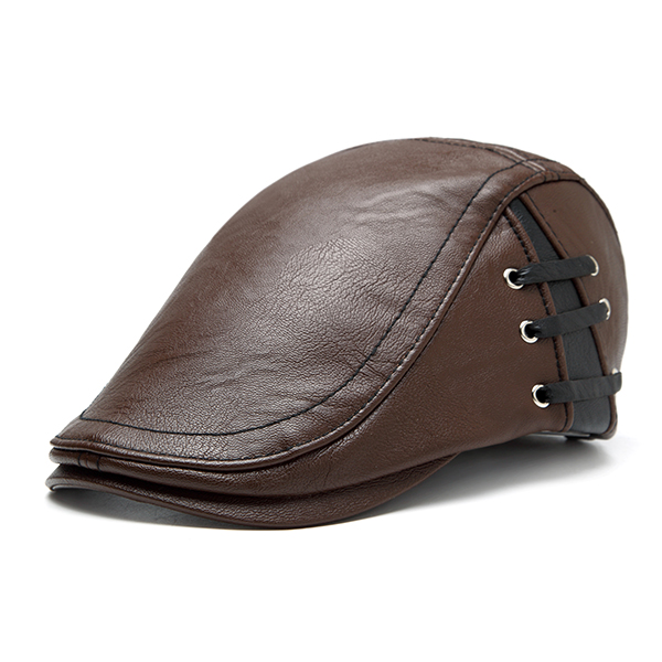 Retro Artificial Leather Lace-up Adjustable Golf Beret Caps