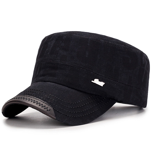Mens Cotton Sunshade Flat Top Hat Letter Military Casual Cap