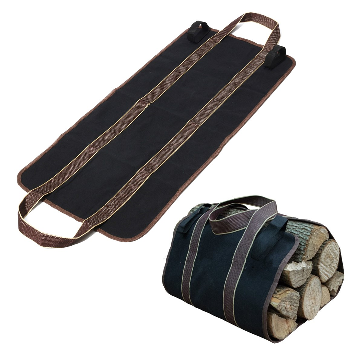 Canvas Supersized Firewood Carrier Log Tote Camping Holder Carry Bag