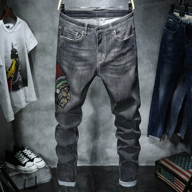 Men's Jeans Embroidered Slim Large Size Casual Jeans