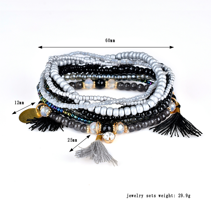 Bohemian Multilayer Tassel Charm Gold Color Coin Pendant Beads Bracelet for Women