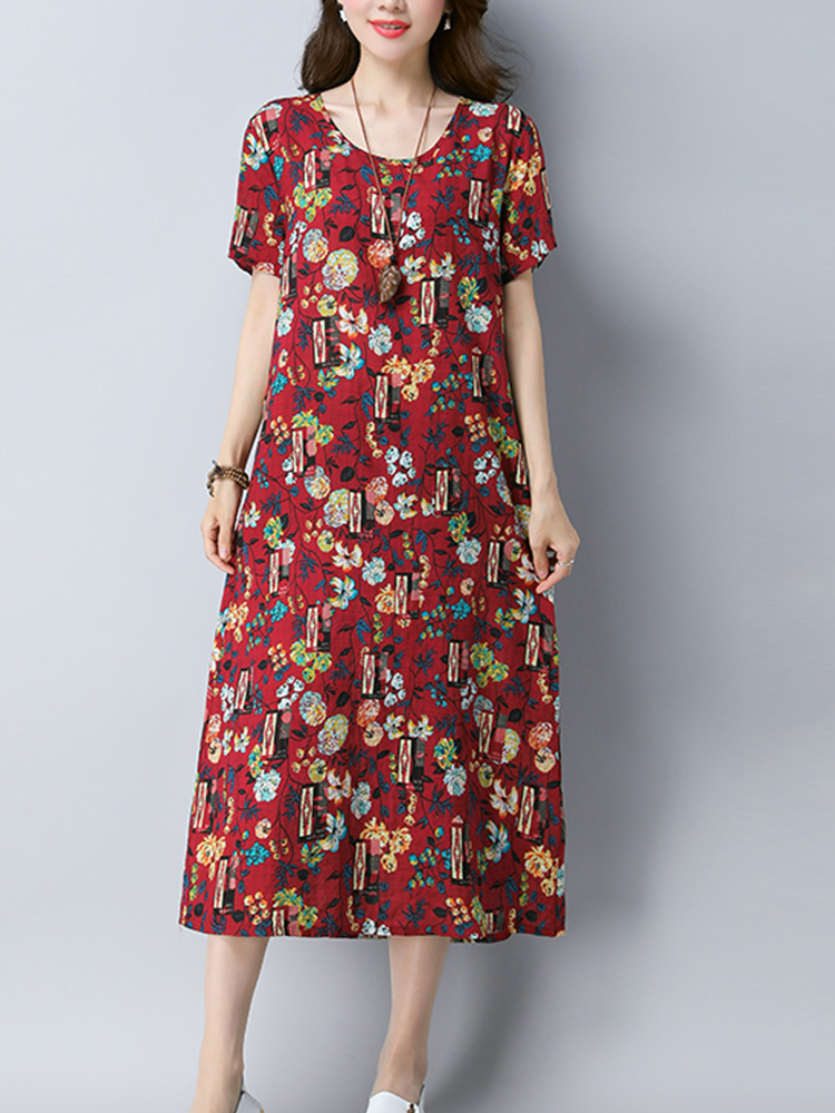 Vintage Women Floral Dress Short Sleeve Pockets A Line Cotton Dresses
