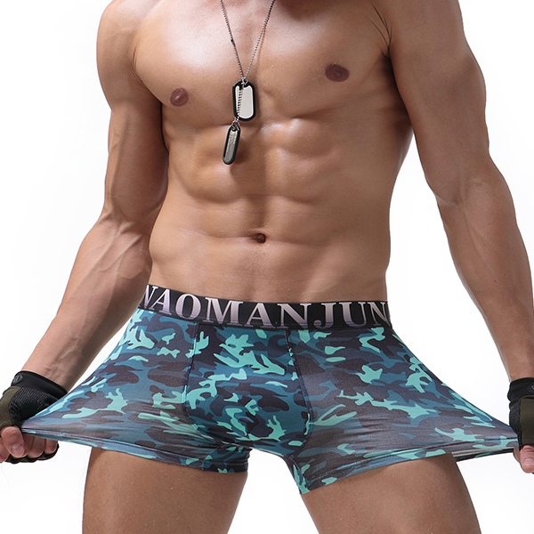Mens Camo Printing Sexy Casual U Convex Fashion Underwear Modal Breathable Boxer