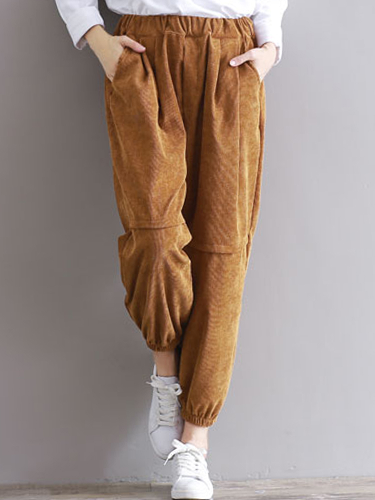 Casual Women Elastic High-waisted Corduroy Lantern Trousers