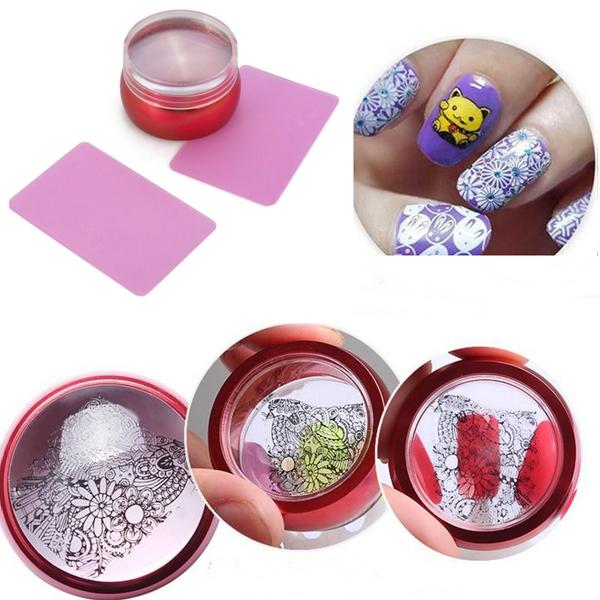 3Pcs Metal Polish Stamper Stamping Silicone Transparent Plate Printer Scraper Printing Nail Art Tool