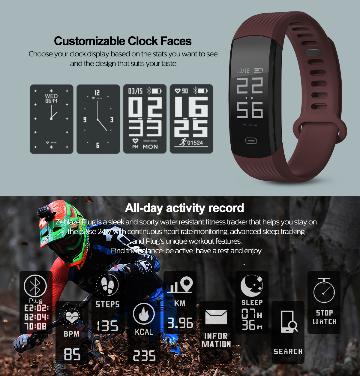 Zeblaze Plug Real-time Heart Rate Sleep Monitor Stopwatch All-day Activity Tracker BT4.0 Smart Watch