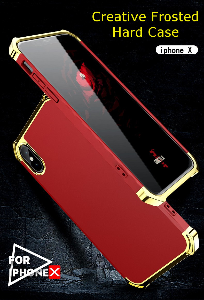 Bakeey™ 3 In 1 Bumper Plating Frosted Shockproof Protective Case for iPhone X