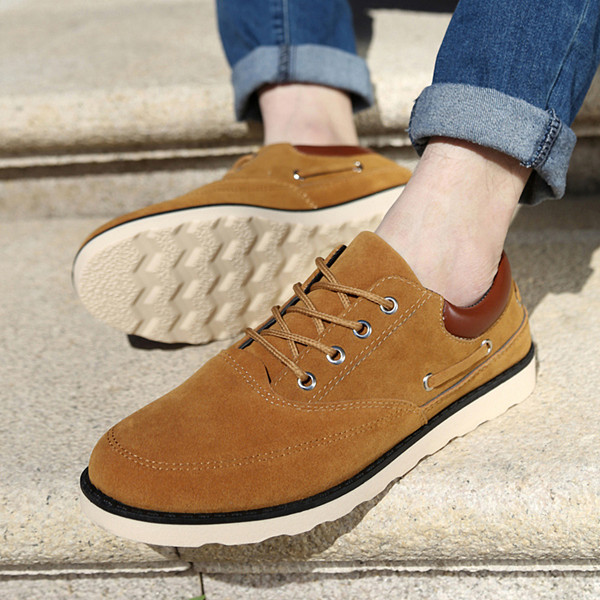 Men Oxfords Suedue Outdoor Comfortable Lace Up Round Toe Casual Dress Shoes