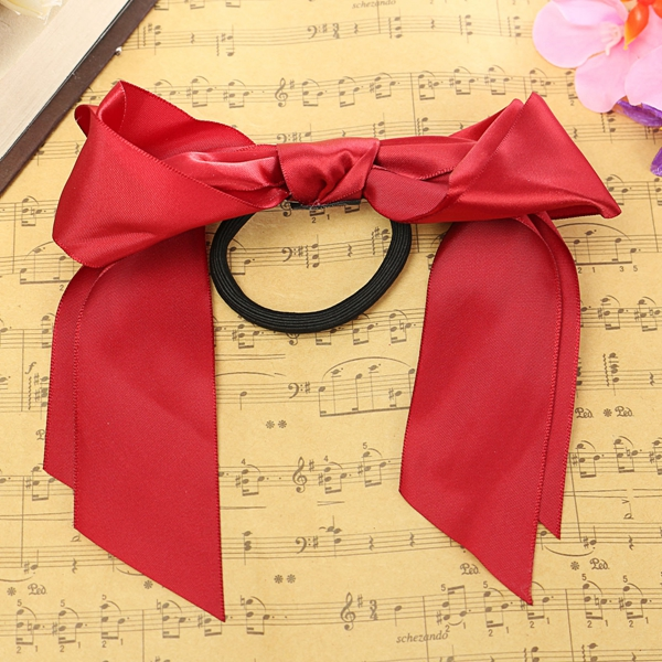 Multicolor Scrunchie Ponytail Holder Satin Ribbon Bow Bowknot Hair Band Rope