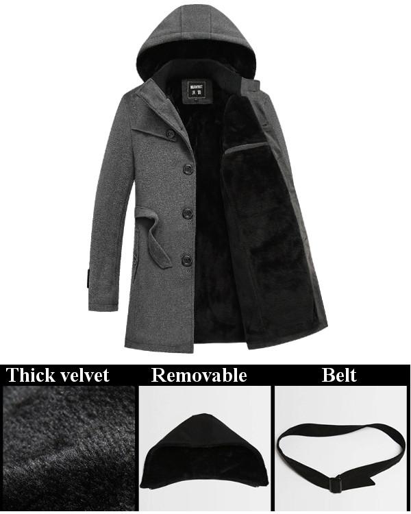 Mens Winter Thick Velvet Single Breasted Trench Coat Hoodies Woolen Blended Overcoat