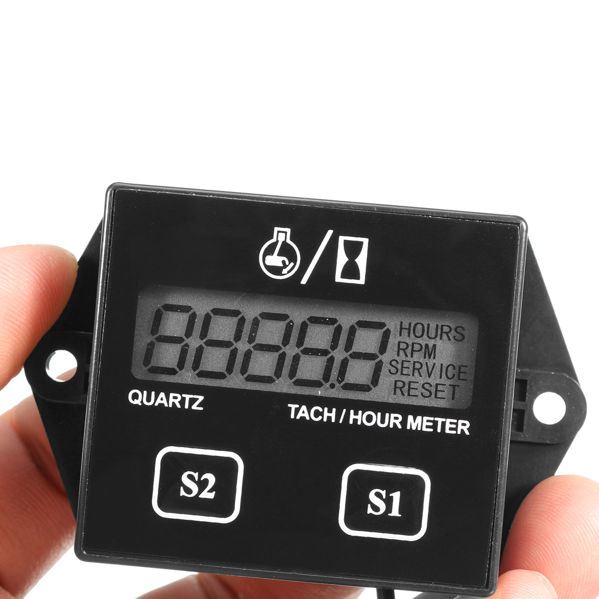 Motorcycle ATV LCD Digital Tach Tachometer Hour Meter Gas Engine Spark Induction