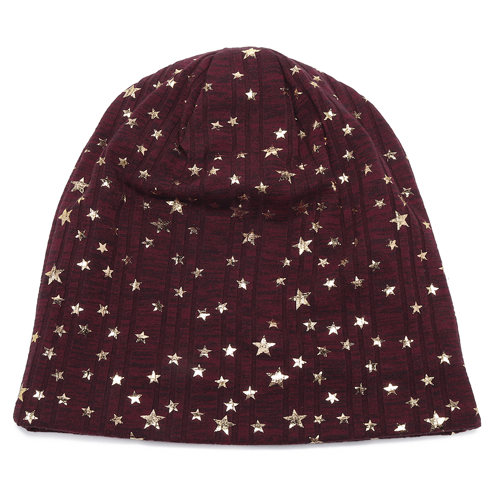 Unisex Winter Fashion Pentagram Print Slouch Knit Beanie Hat