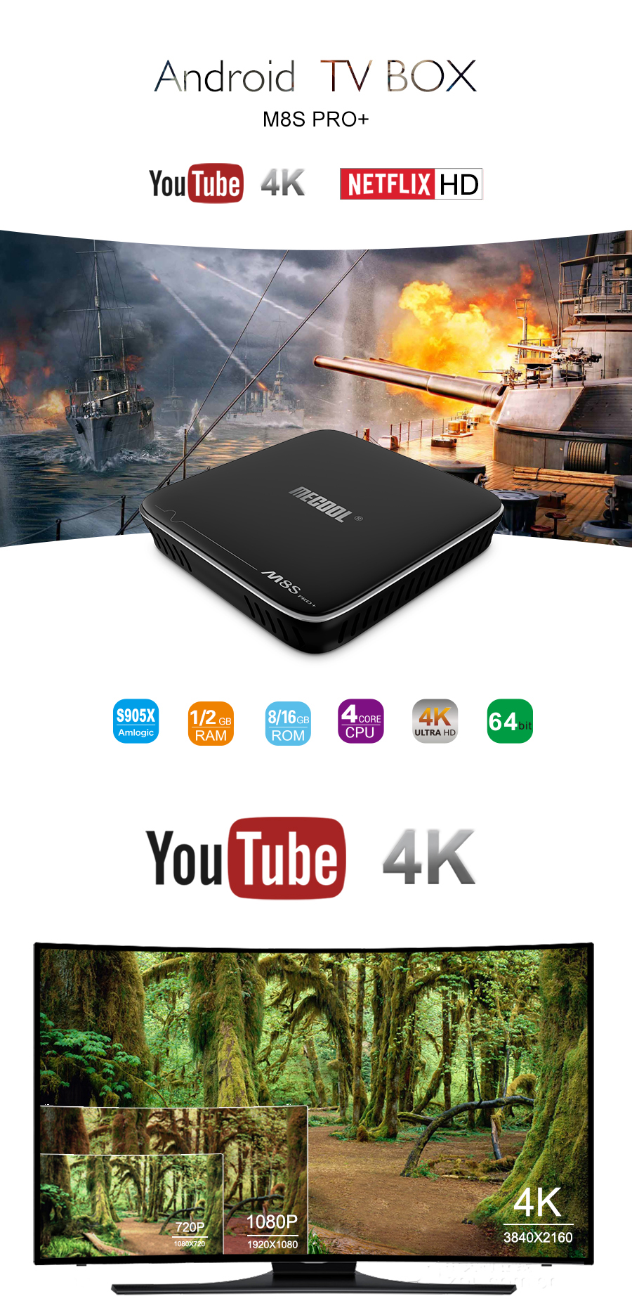 Mecool M8S PRO PLUS Amlogic S905X Quad Core 2GB DDR3 RAM 16GB ROM Android 7.1 2.4G WiFi 100M LAN 4Kx2K 60fps HDR10 H.265 HEVC VP9 Android TV Box Mini PC HD Netflix 4K Youtube