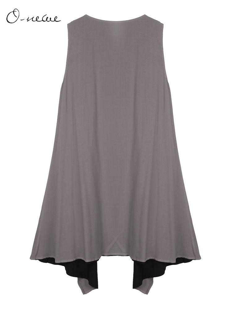 O-NEWE Loose Women Sleeveless Reversible Cardigan