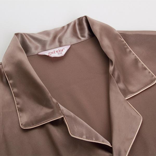 Mens Imitation Silk Smooth Loose Pajamas Set Casual Home Loungewear