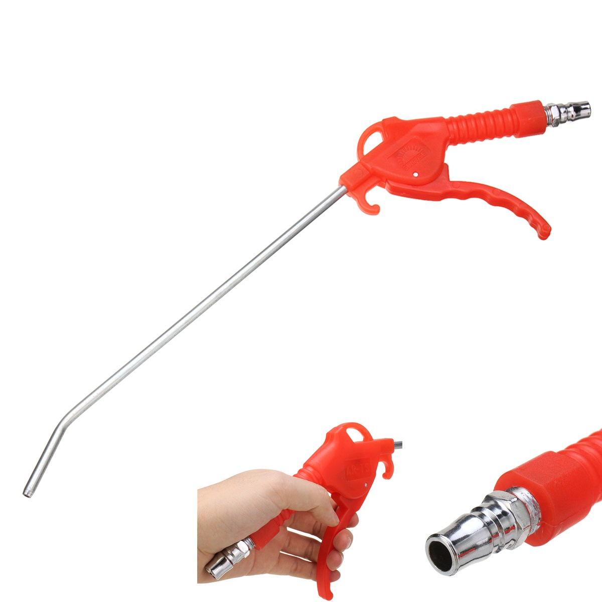 Red Plastic Handle Angled Bent Nozzle Air Duster Blow Gun Cleaner