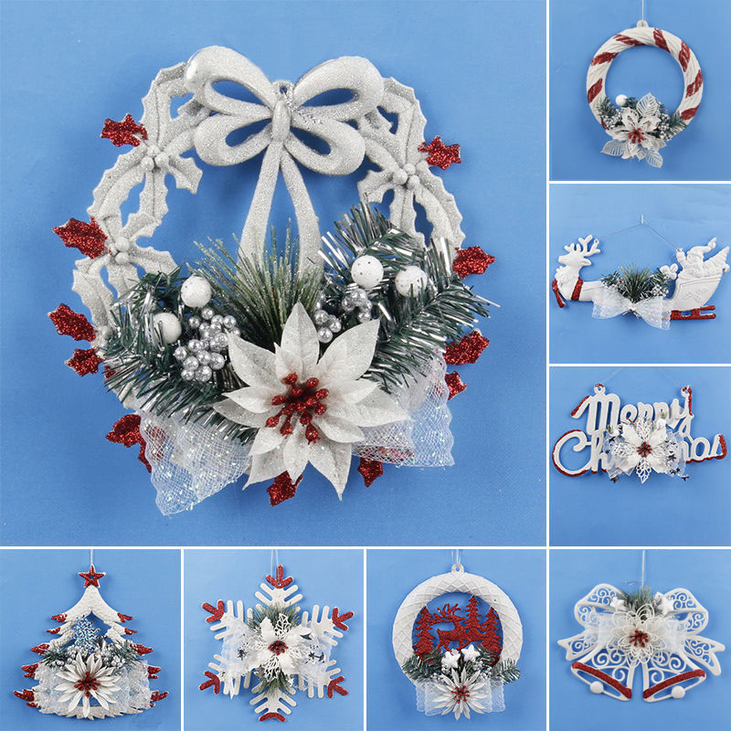 Christmas Tree Snowflake Ornament Wall Door Hanging Decor Home Christmas Party Decor