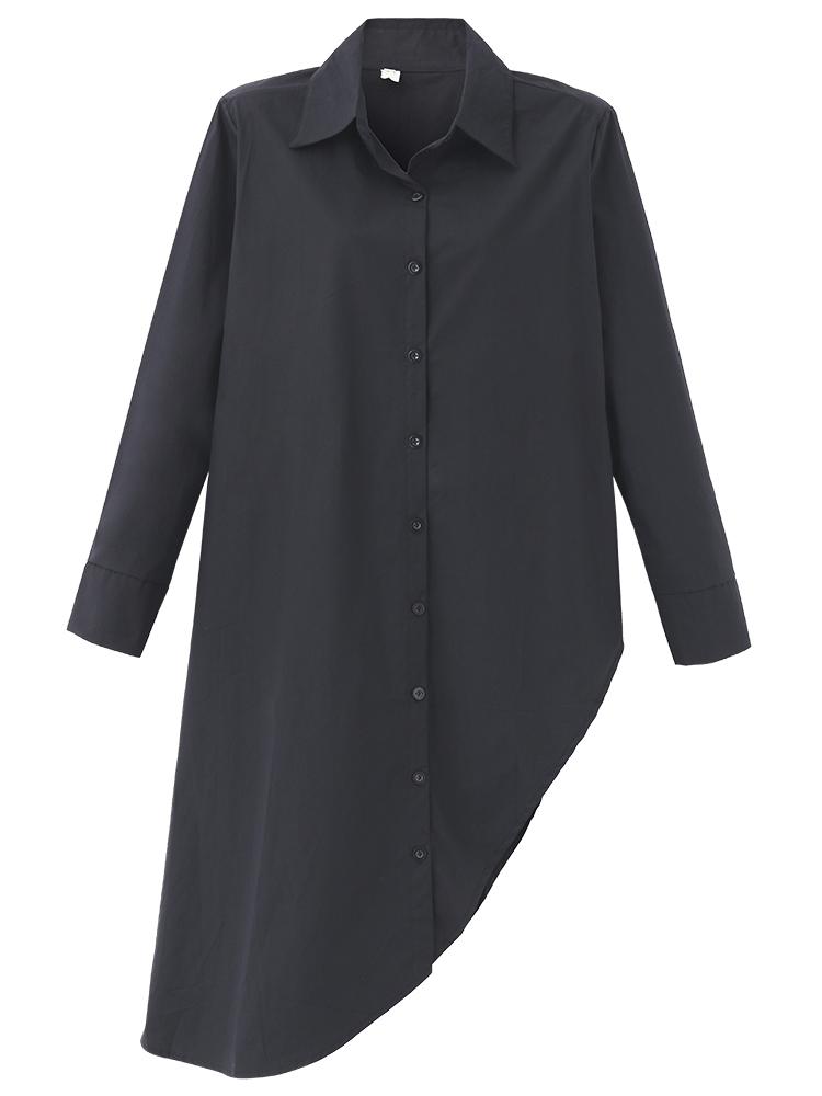 Women Solid Long Sleeve Irregular Waist Shirt Dress