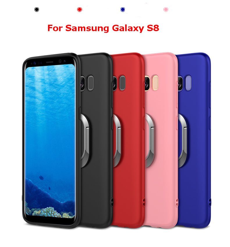 Bakeey™ 360° Adjustable Metal Ring Kickstand Magnetic Frosted Soft TPU Case for Samsung Galaxy S8