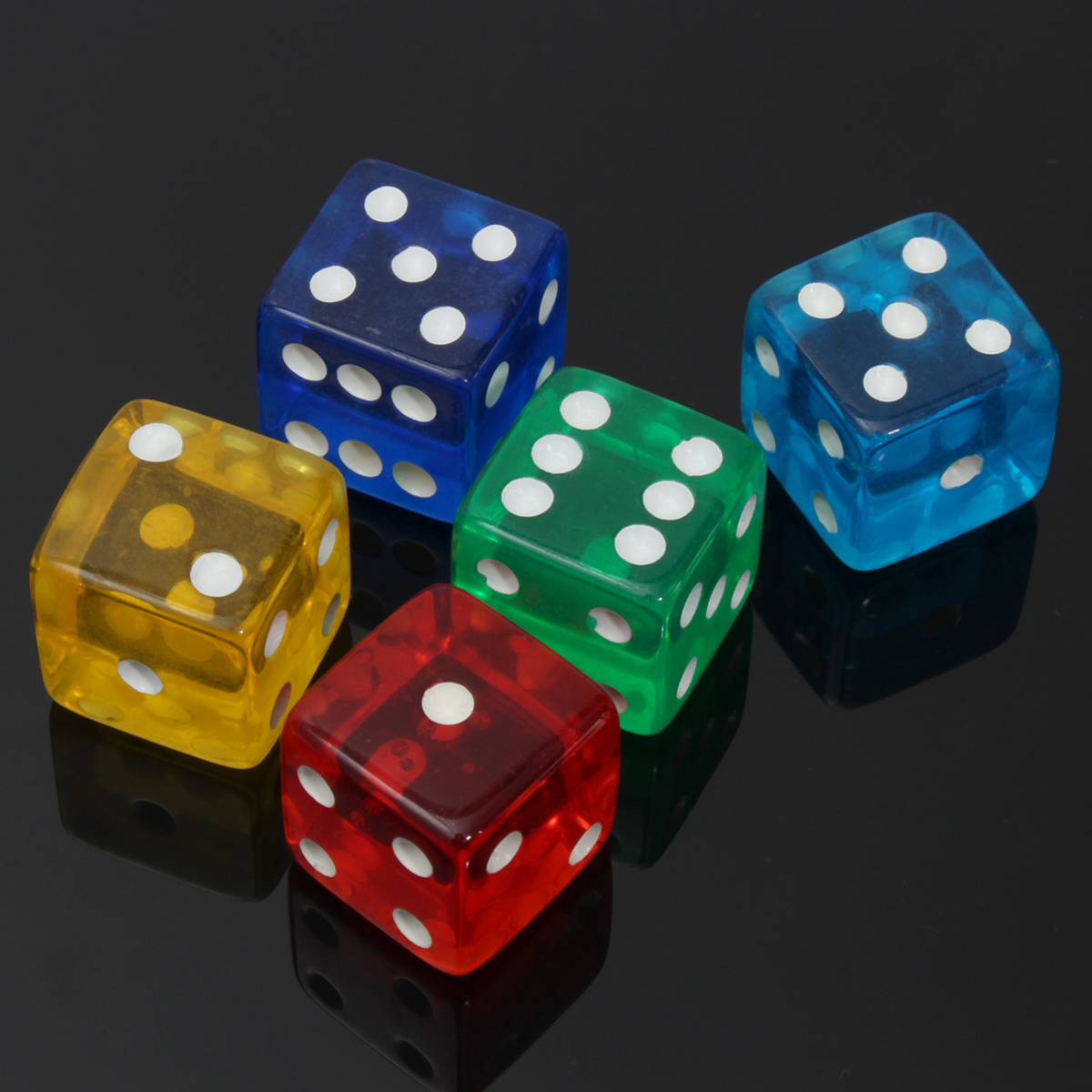 10PCS 19mm Acrylic Gaming Dice Standard Six Sided Die 5 Colors