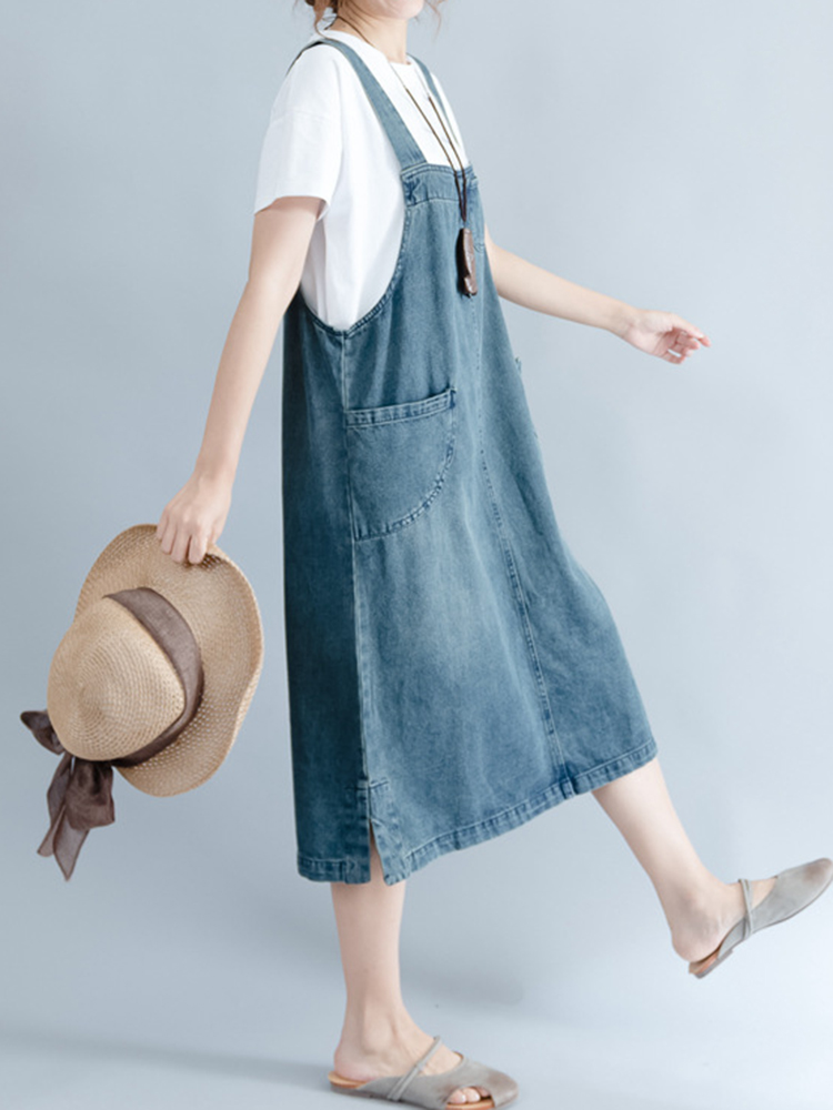 Women Sleeveless Strap Pockets Denim Dress