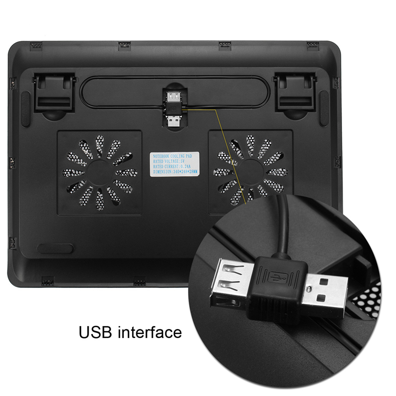 2 Fans LED USB Cooling Pad Adjustable Cooler for Laptop Notebook MacBook