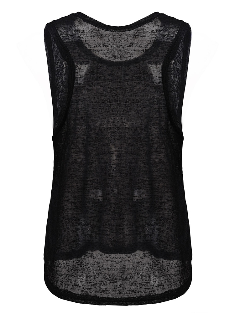 Loose Casual Women Sleeveless Transparent Tank Tops