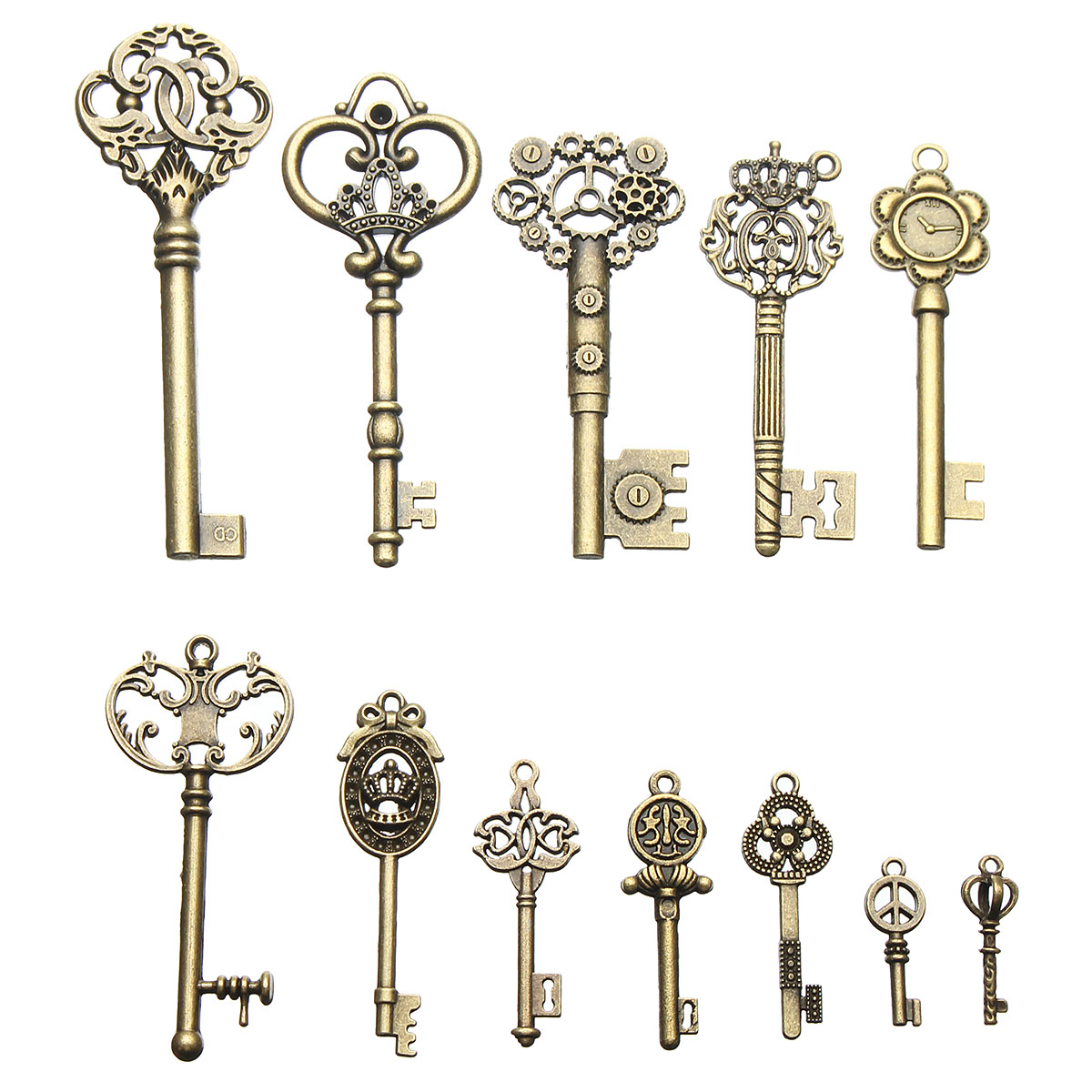 12Pcs Vintage Bronze Key For Pendant Necklace Bracelet DIY Handmade Accessories Decoration
