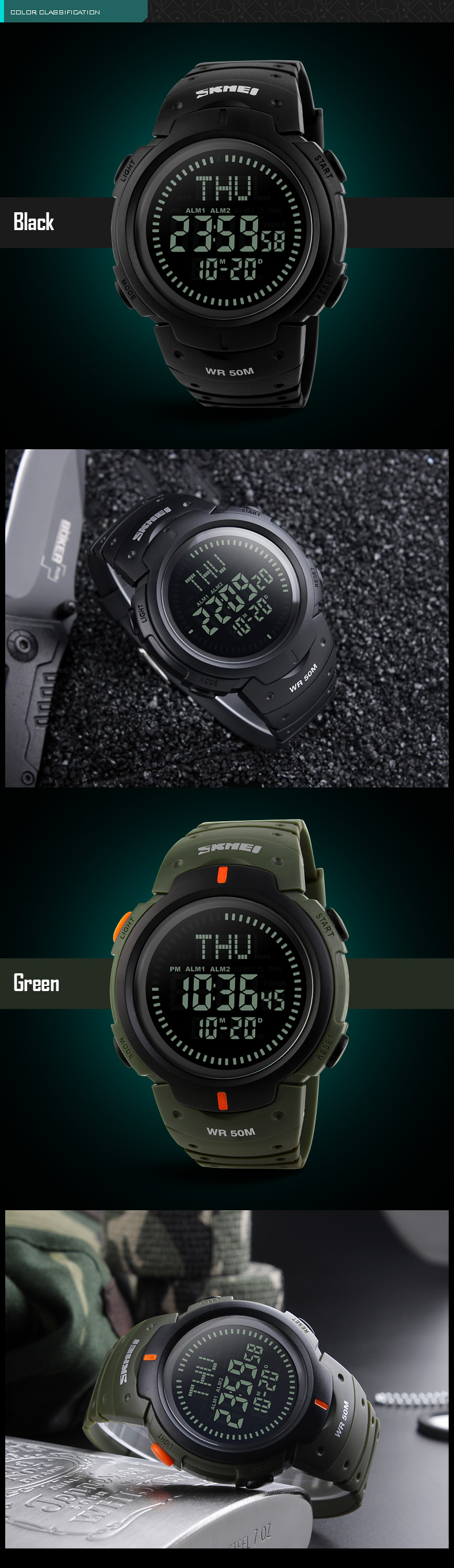 SKMEI 1231 Fashion Men Digital Watch Swimming Compass Outdoor Sport Watch