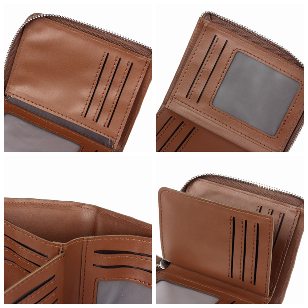 Men Vintage Fashion Genuine Leather Business Trifold Wallet