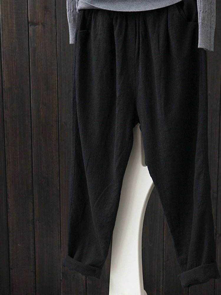 S-5XL Casual Women Pure Color Cotton Pants