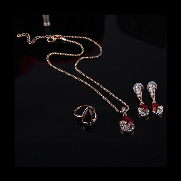 Turkey Series Red Rubine Necklace Rhinestone Ring Earrings Birthday Gift Jewelry Set