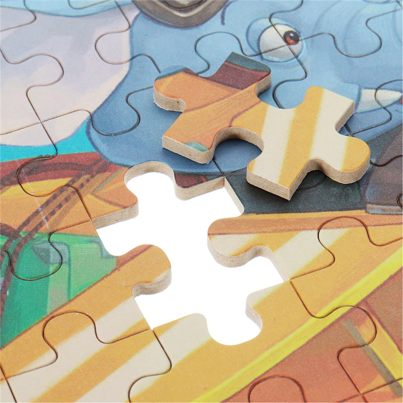 60pcs DIY Puzzle Elephant Pilot Plane Cartoon Jigsaw With Tin Box Kids Children Educational Gift Toy