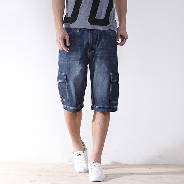 Summer Casual Fashion Loose Thin Breathable Knee Length Multi Pocket Men Jeans Plus Size 30-48