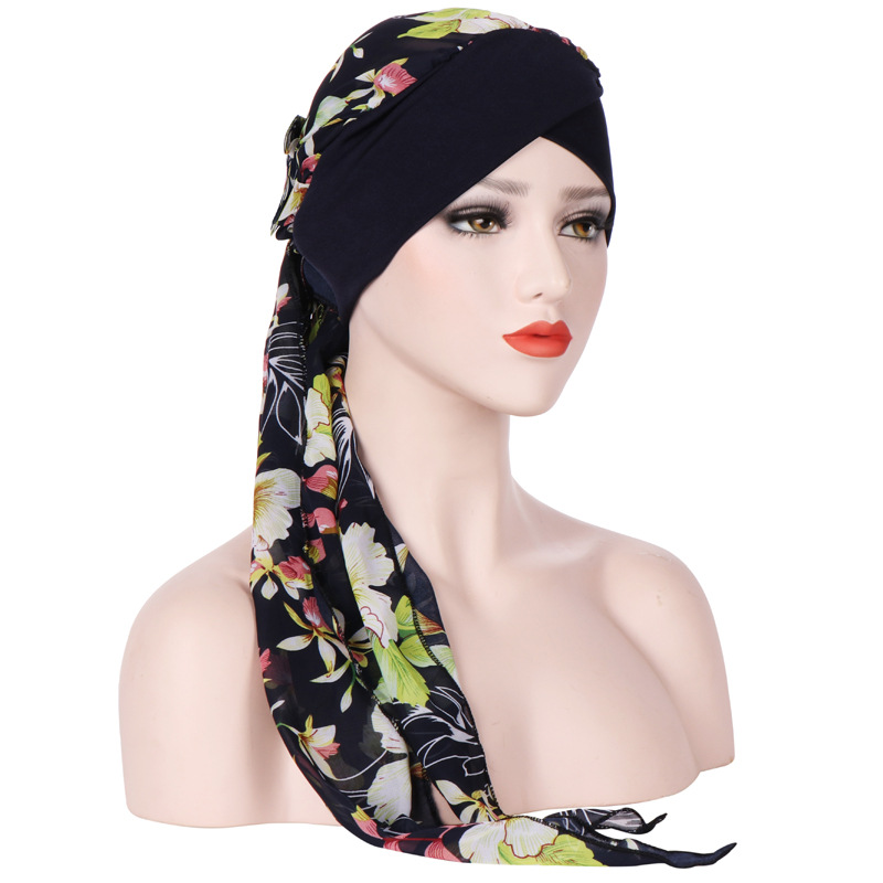 Women Vintage Floral Bandaged Turban Hat