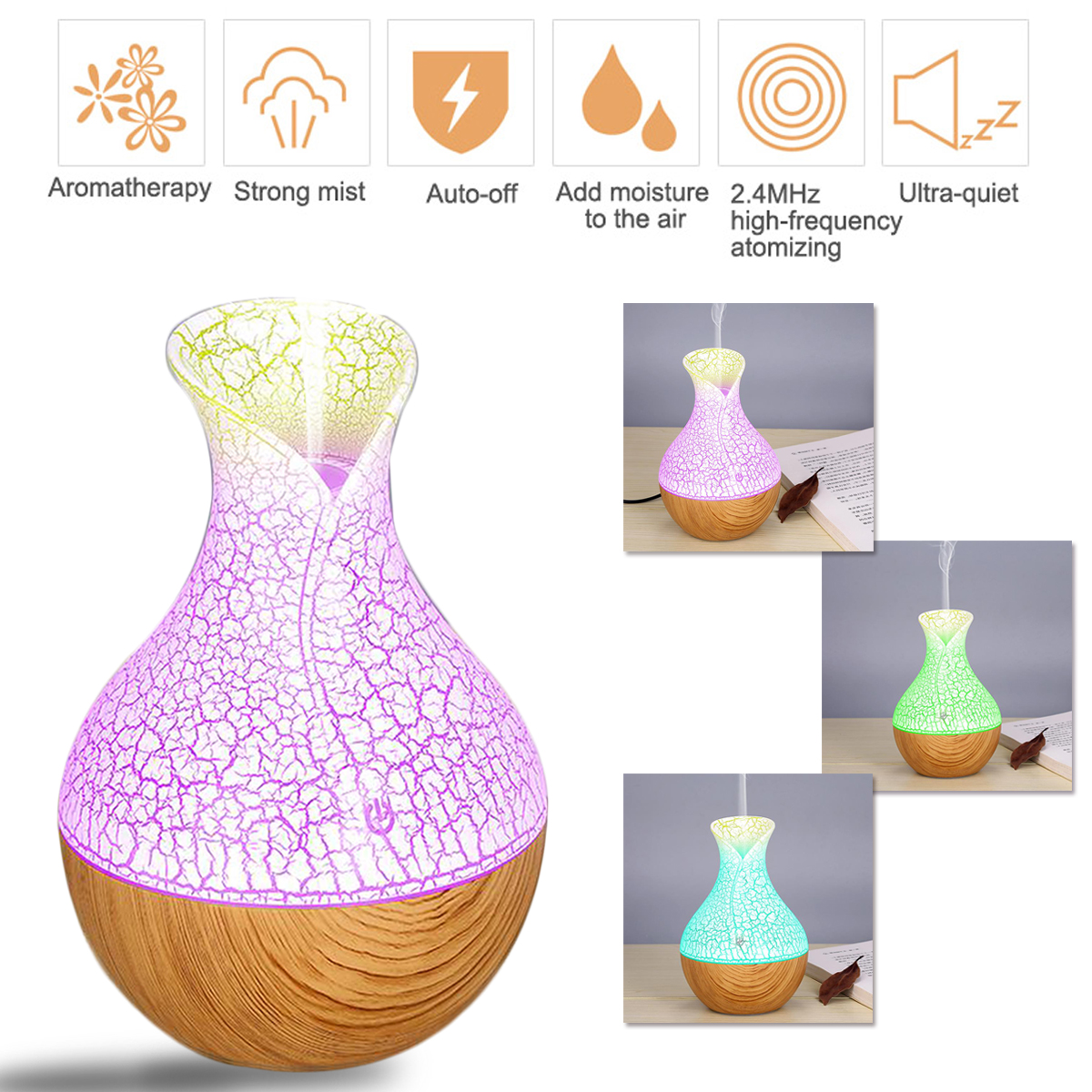 7 Colors LED Mini Wood Grain Car Bedroom Humidifier Large Capacity Aromatherapy Machine