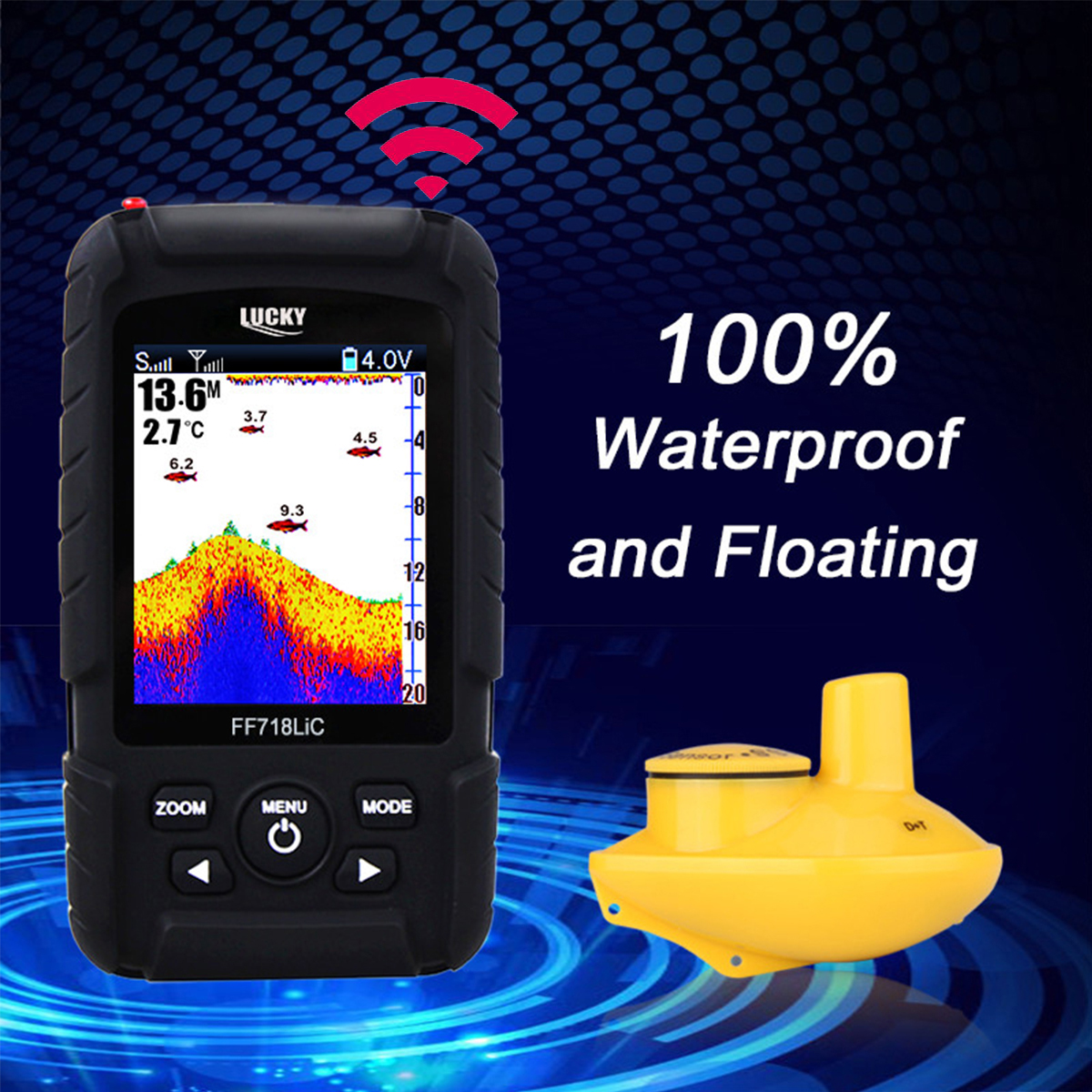 Lucky Fish Finder Wireless Waterproof Color Screen Sonar Smart LCD Fishfinders