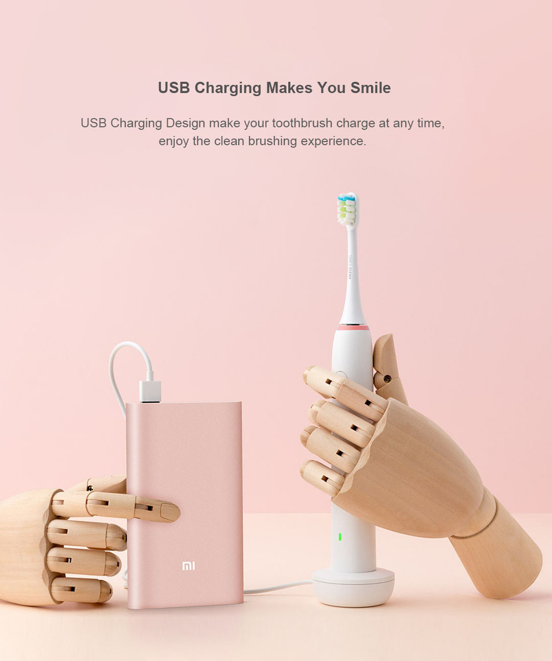 Xiaomi Soocas X1 Clean Sonic Electric Toothbrush 3 Brush Modes White Wireless USB Charging IPX7 Waterproof