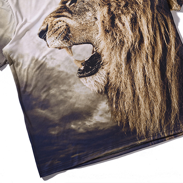 Summer Men's Fashion Casual 3D Lion Print Short Sleeve T-Shirt Loose Soft Comfortable T-Shirt