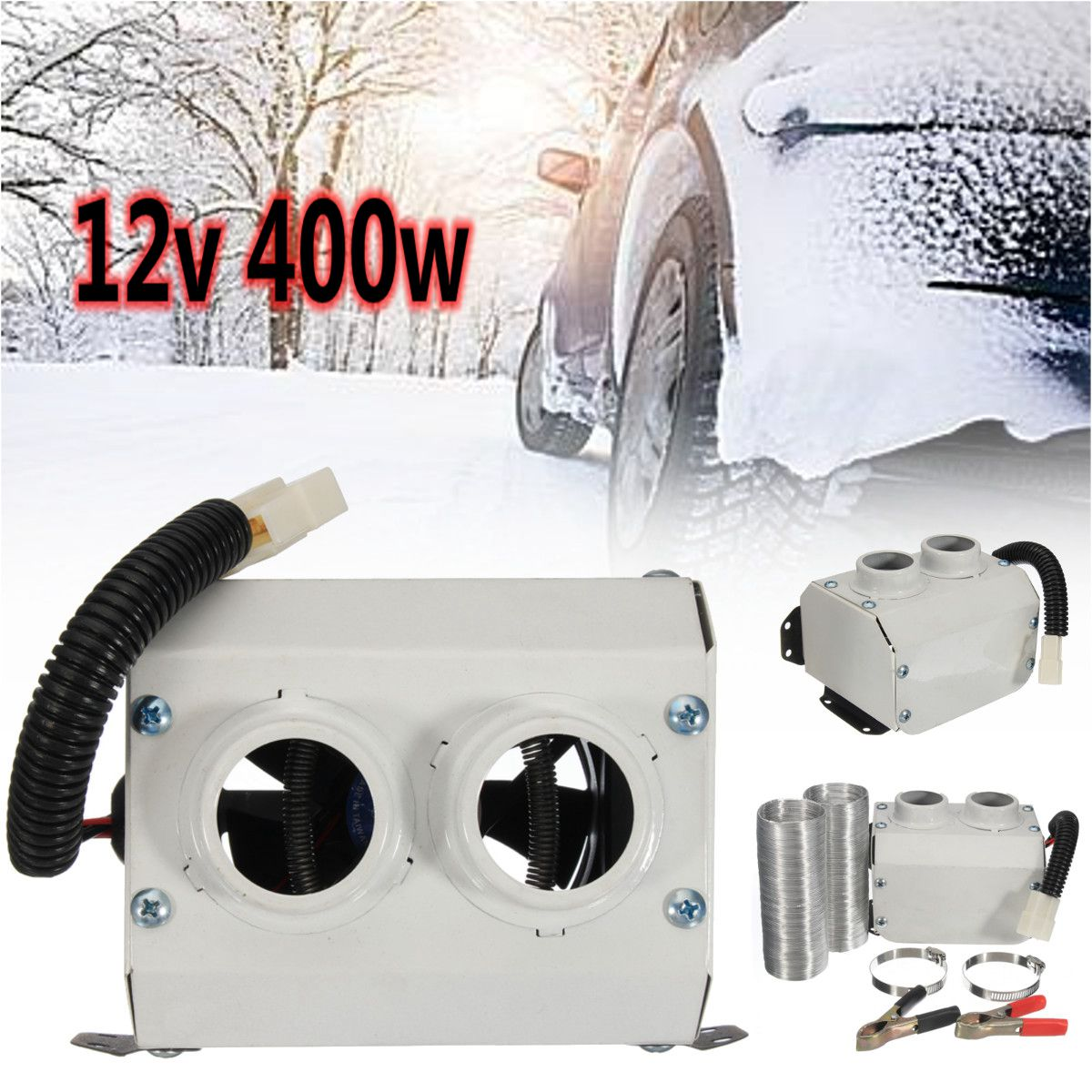 DC 12V 400W Double Hole Car Heater Warmer Fans Protect Window Defroster Demister