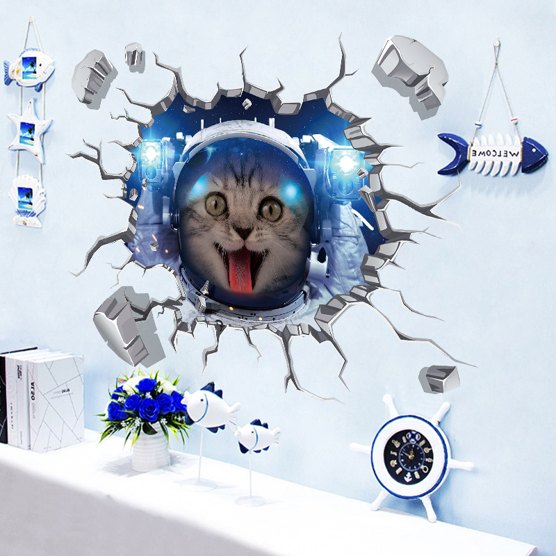 Miico Creative 3D Space Astronaut Cat Broken Wall PVC Removable Home Room Decorative Wall Floor Decor Sticker