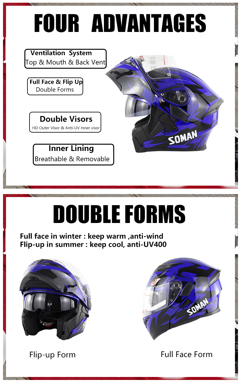 DOT SOMAN 955 Motorcycle bluetooth Full Face Helmet Flip Up Double Visors Helmets With BT Headset Earphone