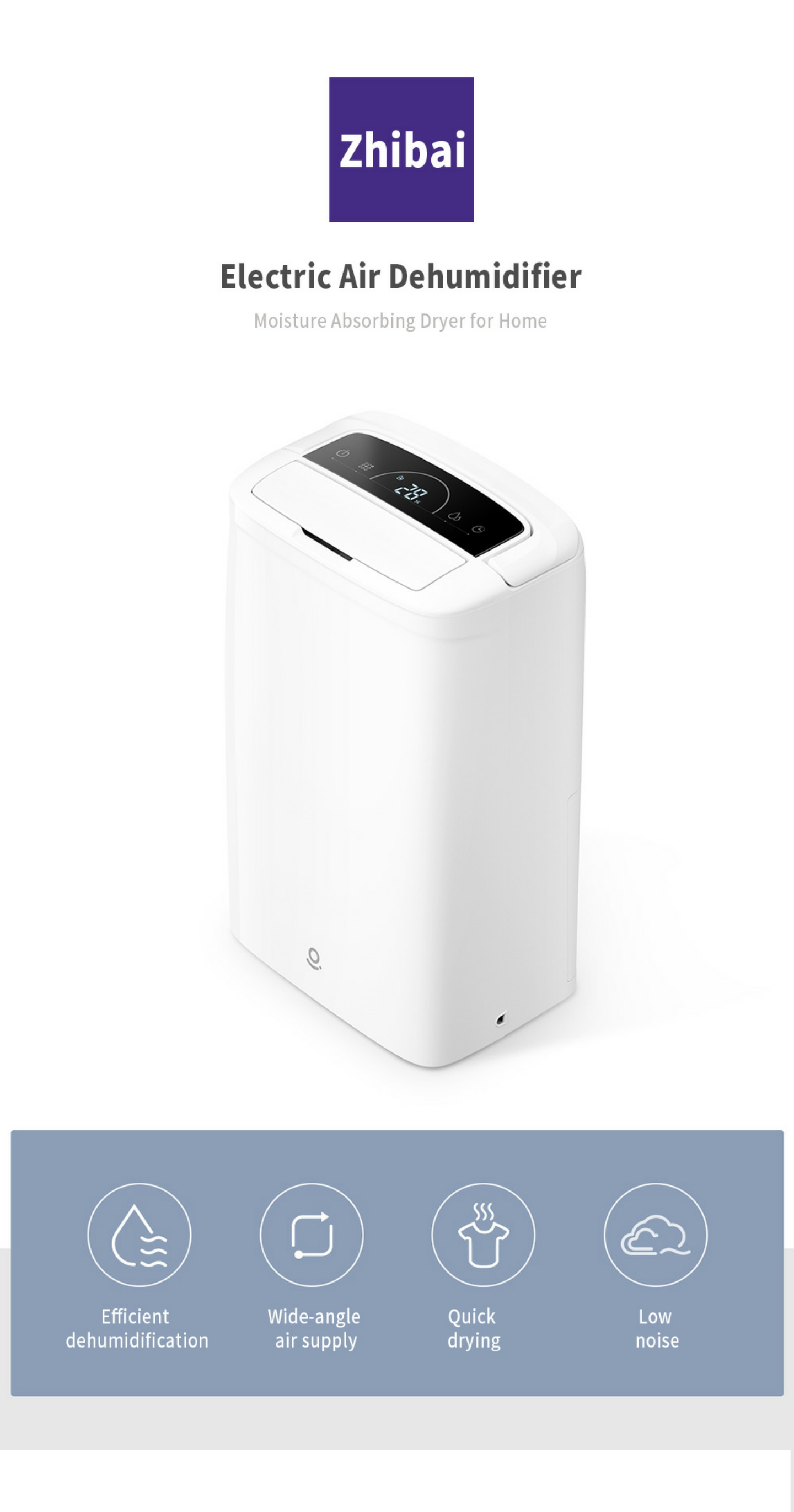 XIAOMI ZHIBAI Portable Electric Air Dehumidifier Low Noise Lightweight LCD Display Automatic Moisture Absorbing Dryer for Home
