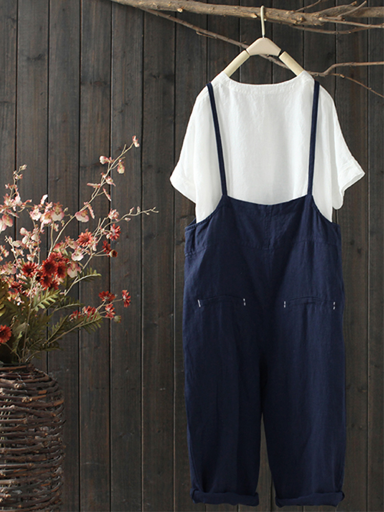 Women Sleeveless Strappy V-neck Pockets Overalls Jumpsuit