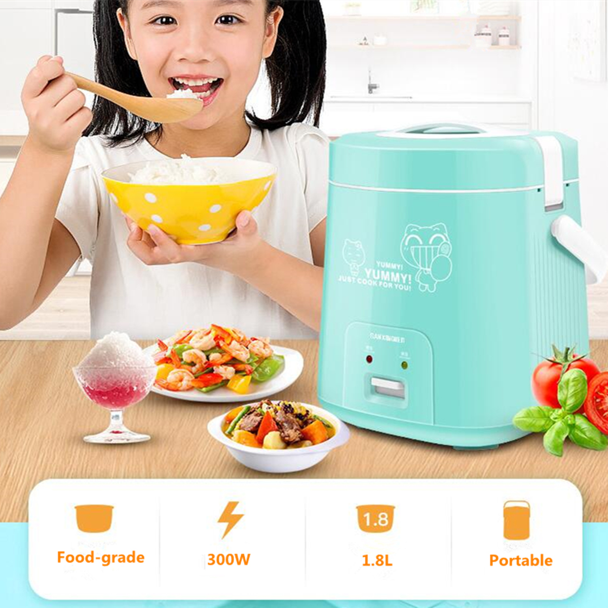 1.8L 300W 2-3 People Portable Mini Electric Rice Cooker Nonstick Cooking Pot 220V Camping Picnic
