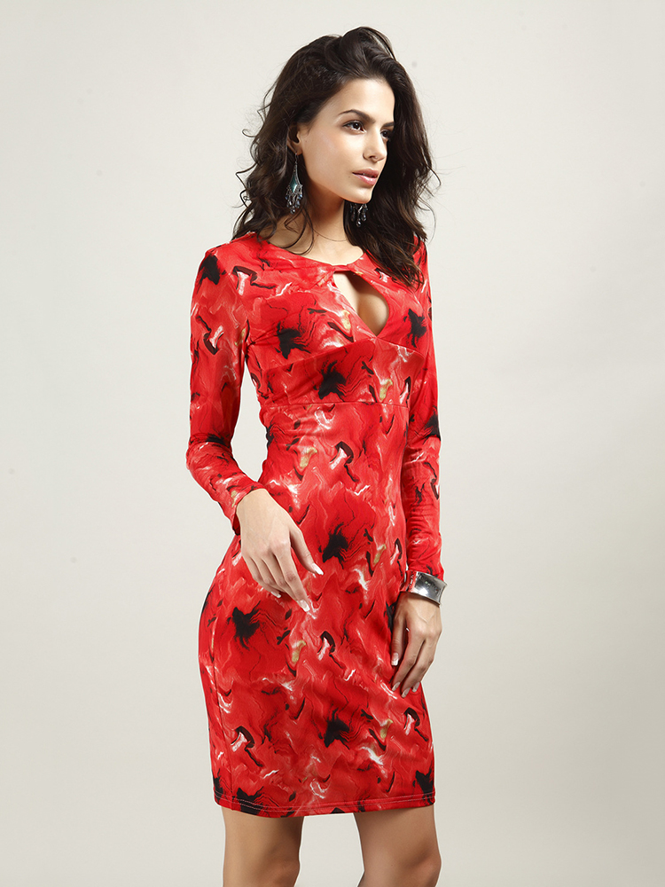 Sexy Women O-Neck Floral Printed Long Sleeve Hole Dress