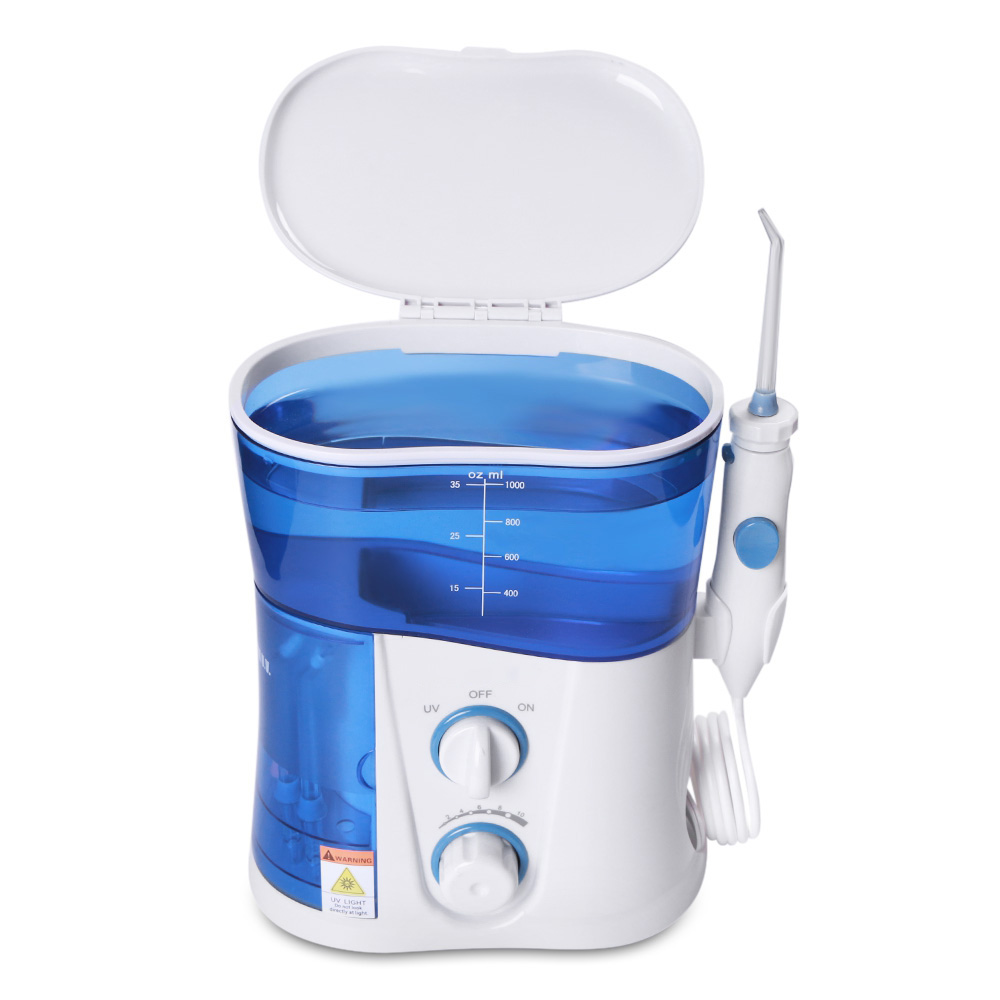Nicefeel UV Disinfection 1000ML Water Flosser Dental Oral Irrigator Dental Spa Unit Professional Floss Oral Irrigator 7Pcs Jet Tip Water Tank Baby Toothbrushes
