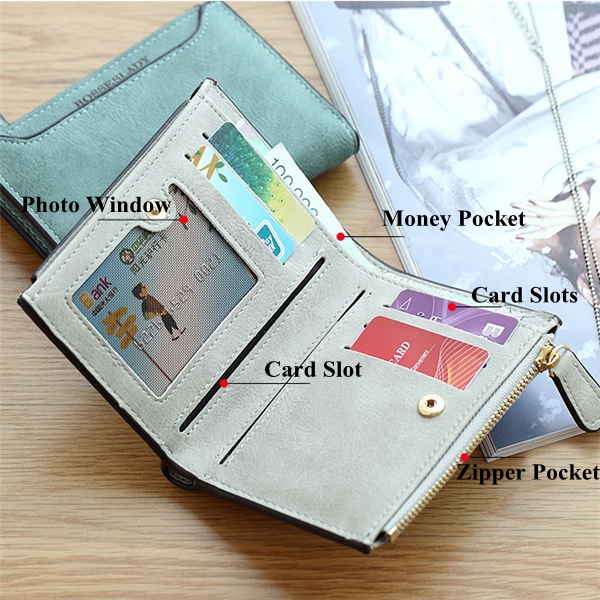 Women Vintage Short Wallet Lady Letter Zipper Short Clutch