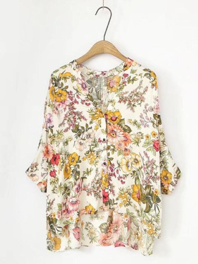 Casual Women Floral Print V-neck 3/4 Sleeve Asymmetric Blouse