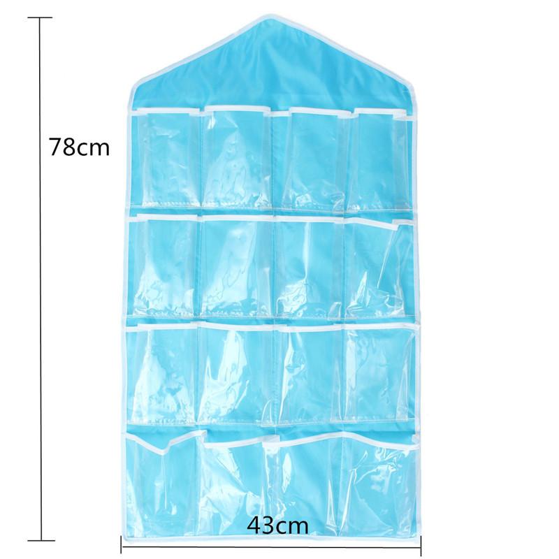 Storage Bag 16 Pocket Over Door Hanging Bag Shoe Socks Toys Hanger Organizer